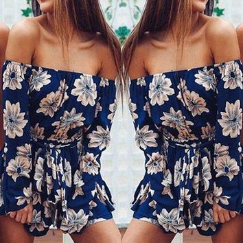 Women Casual Playsuits Rompers Bohemian Floral Print Sexy Backless Rompers Jumpsuits Summer Off Shoulder Beach Style Playsuits