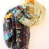 NEW Beige Ethnic Scarf Aztec Scarf Tribal Scarf Soft Cotton Scarf Chevron Outstand Scarf Olive Green Beach Pareo Sarong Urban Scarf