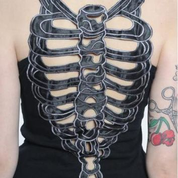 Ribcage Dress DR1-071-10 van Queen of Darkness - Bizzare - Be azz you are, Be Bizzare