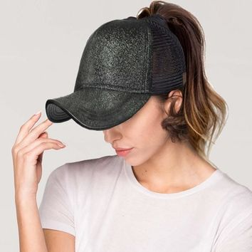 CC messy bun glitter trucker hat