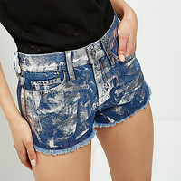 Mid blue metallic paint denim hot pants - denim shorts - shorts - women