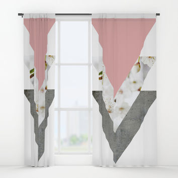 Blossoms Arrows Collage Window Curtains by ARTbyJWP