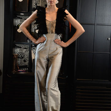 Silk dupioni trousers, recycled silk and feather braces, silk & metal orgnaza bustier, haute couture