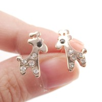 Adorable Giraffe Shaped Stud Earrings in Rose Gold with Rhinestones