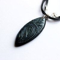 Paisley necklace black and dark blue boho paisley necklace handmade polymer clay jewelry black bohemian pendant