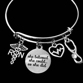 She Believed She Could So She Did Expandable Charm Bracelet RN Jewelry EKG Registered Nurse Adjustable Silver Bangle One Size Fits All Gift