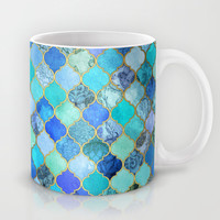 Cobalt Blue, Aqua & Gold Decorative Moroccan Tile Pattern Mug by micklyn