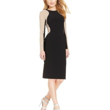 Xscape Long-Sleeve Studded Colorblock Sheath | macys.com