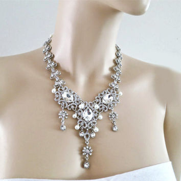 Bridal Jewelry Set Pearl Rhinestone Crystal Wedding Necklace Earrings Silver Filigree Accessories Special Occasion Mother of The Bride
