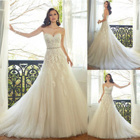 Vestidos casamento 2015 bride wedding dress new spring Stunning Applique Beaded A-line Wedding Dresses Bridal Gown Bride Dress 1924245184