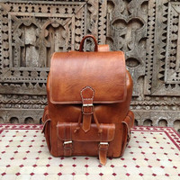 Honey brown Leather Backpack With Divider Sleeve and Back Zipper Pocket