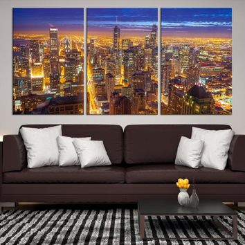 29783 - Chicago Wall Art Canvas Print - Extra Large Chicago City Night Canvas Print