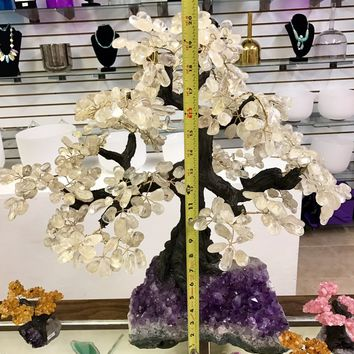 Tall Money Tree Sculpture- Tree of Life | Amethyst Cluster Base | Wire Tree Sculpture Gem Tree Crystal Quartz Raw Quartz Bonsai