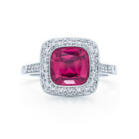 Tiffany & Co. - Tiffany Legacy® red spinel ring in platinum with diamonds.