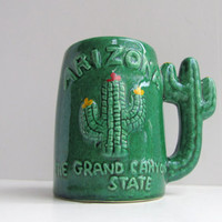 vintage arizona cactus mug. green kitsch mug with cactus handle