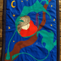 Unique Baby Blanket Nightblue,appliqued embroidery, cot quilt, bedcover crib bedding unisex textile art