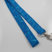 Fabric Lanyard Blue Paisley Lanyard Teacher Lanyard Nurse Lanyard Key Holder Lanyard Persian Design Lanyard ID Badge Holder