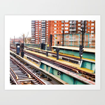 Subway platform at Bay 50 street Art Print by lanjee