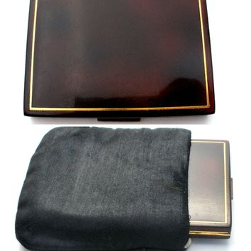 Faux Tortoise Shell Mirror Compact in Finger Ring Purse
