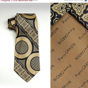 10% OFF Mens Vintage 70s Pierre Cardin Space Age Op Art Jacquard Gold Black Necktie Neck Tie