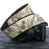 198 Camera Strap Old World Map