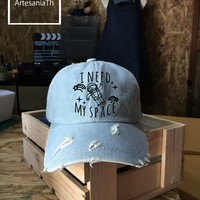 I NEED MY SPACE Nasa Baseball Cap, Denim Cap, Jean Cap,Nasa Hat,nasa Cap, Girlfriend gift, Low-Profile Baseball Cap Baseball Hat