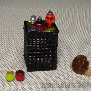 Gothic Stained Glass End Table And Potion Bottles - Artisan Dollhouse Miniatures - One Inch Scale