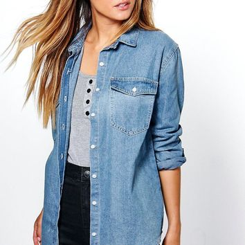 Claudia Oversized Denim Shirt | Boohoo