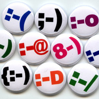 """EMOTICONS Text texting Emotions 10 Pinback 1"""" Buttons Badges Pins"""