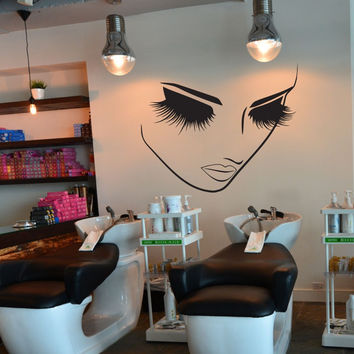 Removable Fashion Home Decor Vinyl Wall Art Decals Sticker Beauty Lashes Spa Sal