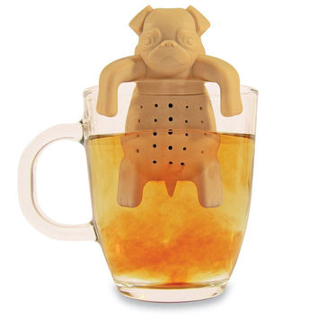 1Pc Lovely Tea Strainers Pug In A Mug Silicone Tea Infuser Kawai Portable Dog Tea Strainers