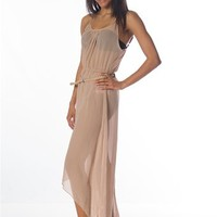 Sheer Dress with Belt - Taupe at Lucky 21 Lucky 21