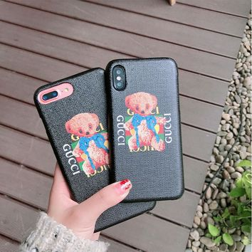 """Gucci"" Cute Cartoon Letter Bear Cub Print iPhoneX/8/6S Hard Phone Case iPhone7 Plus Couple Apple Phone Shell"
