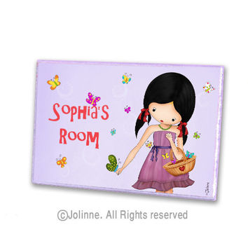 Kids door hanger, personalized door sign, lavender, girls room, butterflies customized wooden door plaque