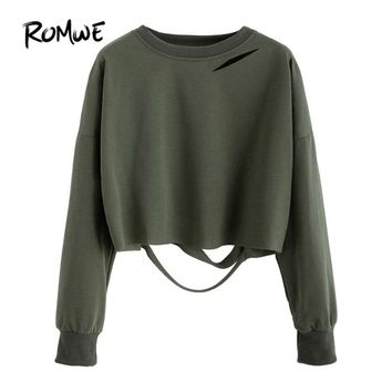 Dark Green Drop Shoulder Cut Out Crop T-shirt Autumn Round Neck Long Sleeve Tops Fashion Plain T-Shirt