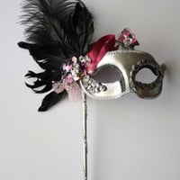 Silver, Pink and Black Masquerade Ball Mask Feather Sequins Beaded with handle Halloween Mardi Gras ooak Venitian Carnevale Mask prom MINUIT