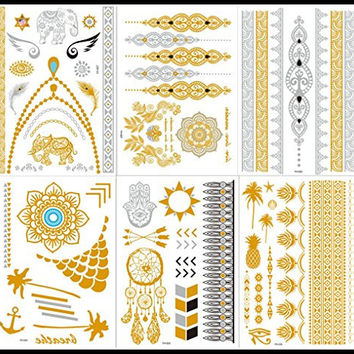 New Release, Dalin 6 Sheets Gold Silver Blue Body Jewelry Temporary Metallic Tattoos Adult Temp Metallic Glitter Art Flash Tattoos Long Lasting, Trendy Tattoo Designs - Elephant, Indian Flower, Angel Wings and More