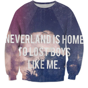 """Neverland is home"" sweater"