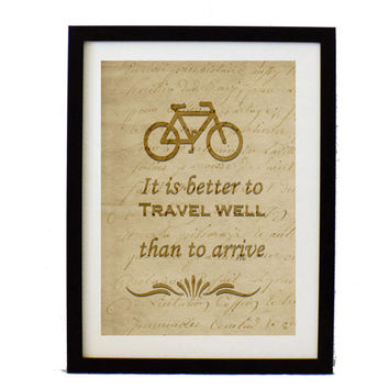 Vintage bicycle illustration poster -It's better to travel well than to arrive - typographic poster - inspirational print - quote print
