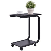 Gymax 2 Tier Coffee Sofa Side End Table TV Snack Stand Rolling Over Bed Laptop PC Desk - Walmart.com