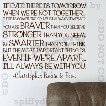 WINNIE THE POOH STRONGER BRAVER SMARTER Quote Vinyl Wall Decal Decor ROBIN