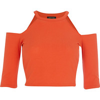 River Island Womens Red racer front cold shoulder crop top