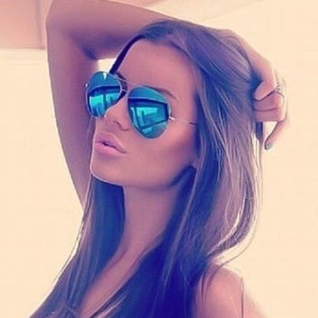 Blue Mirror Aviator Sunglasses gold Frame Hot Famous Cool Sunglasses Men Women = 5660735105