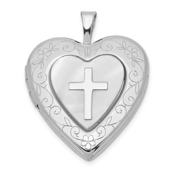 925 Sterling Silver Rhodium-Plated 20mm Mother Of Pearl Cross Heart Locket
