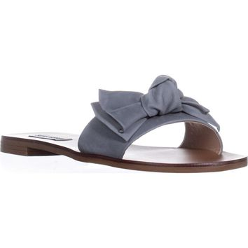 Steve Madden Knotss Flat Slide Sandals, Blue Leather, 8 US