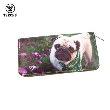 TZECHO Zipper Around Womens Wallets Leather Print Cartoon Dog Long Ladies Organizer Purses Femal Clutch Bag Credit Card Holder