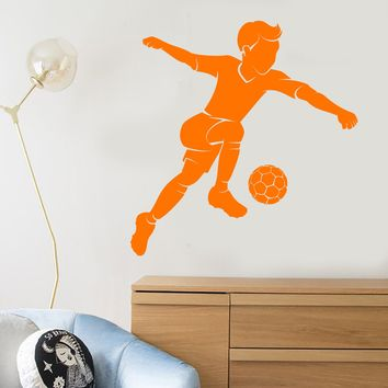Vinyl Wall Decal Soccer Player Boy Ball Children's Room Sport Stickers Unique Gift (2072ig)