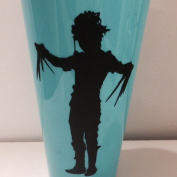 Edward Scissorhands Personalized Cup, Custom Cup, Turquoise Plastic Cup, Unique Table Decor, Movie Theme, Party Favor, Gothic Home Decor