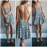 A Navy Floral Cutout Back Boho Sundress