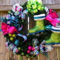 Free Shipping-Christmas Wreath Winter Front Door Wreath Christmas Decor Floral Design Ice Skating Wreath  Indoor/Outdoor Wreath Bells